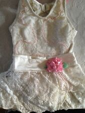 Million Dollar Baby Size 2T Ivory Lace & Beaded Bathing Suit With Matching Skirt