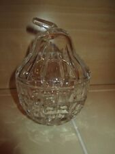 Clear Crystal Glass Fruit Pear Shape Lidded Sugar Bowl Jam Honey Cut Pattern