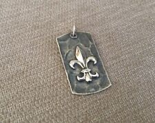 Waxing Poetic Sterling Silver Dog Tag Pendant Charm Fleur De Lis Hammered