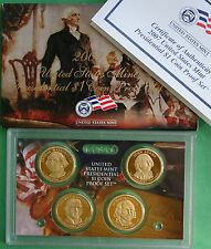 2007 Proof Presidential $1 Coin Set of 4 Golden Dollars with Box and COA