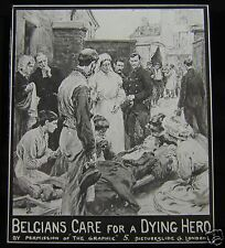 Glass Magic Lantern Slide BELGIANS CARE FOR A DYING HERO WW1