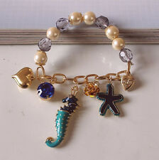 BJ129 Betsey Johnson  Blue Starfhis & Seahorse Charm Bracelet w/Tags
