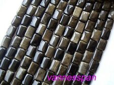 Natural Gold Obsidian Flat Rectangle Beads 13×18mm 15""