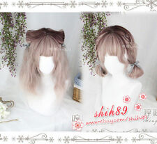 Vintage Harajuku Girl Lolita Pink Gradient Princess Short Hair Curly Cospaly Wig