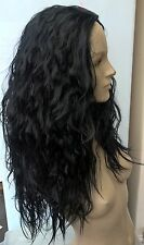 jet black wavy curly frizzy puffy 3/4 half head long hair wig fancydress