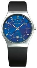 SKAGEN Mens 233XXLSLN BLACK LEATHER BLUE DIAL Watch w/DATE  *NEW*  £99rrp