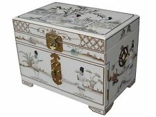 CHINESE MOTHER OF PEARL JEWELLERY WHITE LACQUERED JEWELLERY BOX