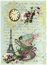 Rice Paper for Decoupage, Scrapbook Sheet, Craft Paper Tea in Paris
