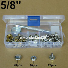 "Boat Cover/Canopy Fittings Snap fastener stainless canvas to 5/8""screw kit tools"