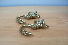 Pair of Vintage French Solid Brass Acanthus Louis XV Curtain Tie backs  #15
