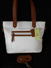 """TOMMY & KATE"" DESIGNER WHITE REAL LEATHER & TAN TRIM BAG BNWT!!!"