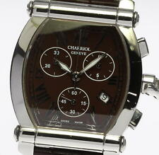 Authentic CHARRIOL COLVMBVS Brown dial Quartz Leather Men's wrist watch_327794