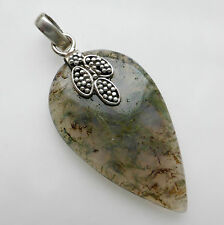 Solid 925 Sterling Silver Moss Agate Pendant Jewellery