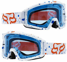 2017 FOX MAIN MOTOCROSS MX GOGGLES NIRV WHITE BLUE TINT LENS tear-off enduro mtb