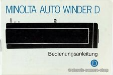 "MINOLTA Bedienungsanleitung "" AUTO WINDER D "" User Manual Anleitung (X2340"