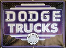 DODGE TRUCKS DEALER MARQUEE REMAKE NEON STYLE PRINTED BANNER SIGN ART 4 X 3