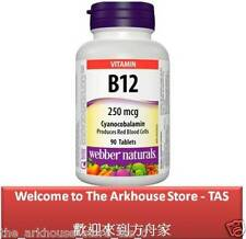 90 T Vitamin B12 Cyanocobalamin 250 / produces red blood cells - Webber Naturals