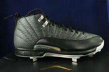 NIKE AIR JORDAN 12 RETRO XII METAL CLEATS BLACK SILVER 854567 010 SZ 12
