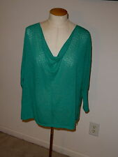 GUINEVERE ANTHROPOLOGIE TEAL 3/4 SLEEVE SLOUCHY NECK LIGHTWEIGHT WIDE SWEATER M