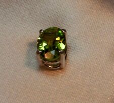 1.05CT SIMULATED OVAL GREEN PERIDOT MENS TIE TACK PIN SOLID STERLING SILVER