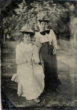 ANTIQUE OUTDOOR TINTYPE PHOTO- TWO ATTRACTIVE YOUNG LADIES WITH HORSE WHIPS