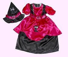 HALLOWEEN STREGA COSTUME DA STREGA Fucsia CAT Gatto nero Vestito da strega+