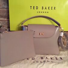 TED BAKER Adalinn Mid-Purple Micro Bow Top Handle Tote Bag Leather+Pouch RRP£189