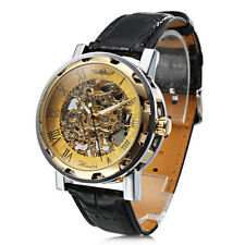 Classic Men Black Leather Gold Dial Skeleton Mechanical Sport Army Wrist Watch~