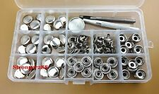 30set 15mm Heavy Duty Snap Fasteners Popper Press Stud Sewing  Buttons Tool Box