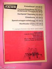 ✪alte Original Landmaschinen Ersatzteilliste Fahr Kreiselheuer KH 20/ D  1970