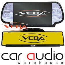 "VEBA Rear Car Number Plate Reversing Camera & 7"" Inch Screen Clip On Mirror Kit"