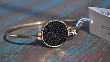 Kate Spade Bracelet Do Wonders Pave Disc Thin Bangle Black and Gold New York