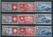 FRANCOBOLLI 1939 SVIZZERA HELVETIA ESPOSIZIONE NAZIONALE 9 VALORI USATI D/4195
