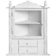 Bianco antico effetto anticato in legno angolo cabinet