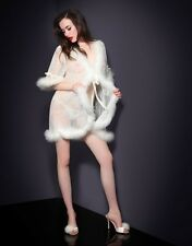 New w/o tags AGENT PROVOCATEUR Lacey French Robe w Marabou Trim Ivory One Size