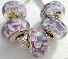 5PCS Silver Single Core Murano Lamp Glass Beads fit European Charm Bracelet A064