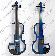 New 4/4 Electric Violin High quality 5 string Solid wood silent Blue #806