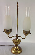 Vintage Antique Student Lamp Brass Double Chimney Glass Table Lamp Light