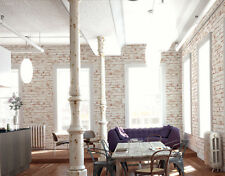 Realistic White Painted Distressed Red Brick Wall Effect Feature Wall Wallpaper