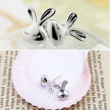 Brilliant White Silver Lovely Kid Post Appearance Earrings Cute Stud Rabbit