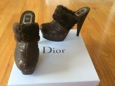 Christian Dior brown ice cannage fur clogs shoes size 39