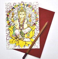 GANESH Hindú Saludos tarjeta de cumpleaños dibujado e impreso en el Reino Unido