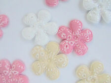 60 Floral Embroidery Stitches Fabric Flower Applique/Trim/Pink,White,Beige H465
