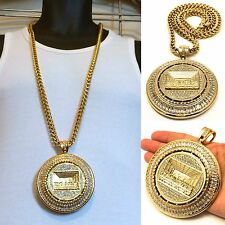 "MENS GOLD LAST SUPPER PENDANT 36"" 8mm STAINLESS STEEL FRANCO CHAIN NECKLACE"