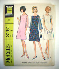 1960's sheer sleeves mod simple dress for evenings  pattern 8261 size 12