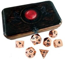 Copper Color- Solid Metal Role Playing Game (RPG) Dice Set with Warlock Tome