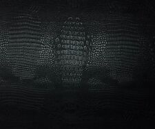 """UPHOLSTERY VINYL FAUX LEATHER CROCODILE NILE BLACK FAUX FAKE LEATHER BY YD 54""""W"""