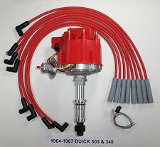 BUICK Small Block 340 1964-1967 HEI DISTRIBUTOR & RED 8mm Spark Plug Wires