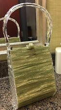 Vintage Acrylic Lucite Purse Green Swirl Pearl 1950S To 1960S Awesome Retro