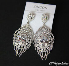 Cubic Zirconia Cluster Feather Drop Dangling Wedding Brides Earring UK New